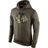 Wholesale blackhawks hoodies for sale - Group buy Chicago Blackhawks Men Sweatshirt Olive Salute To Service KO Performance ice hockey Hoodie