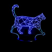 led cat party lights 2021 - Creative 3D led lights Acrylic Visual Stereo table lamp Walking Cat 3D LED Colorful Atmosphere Small Night Light Novelty Birthday Gift