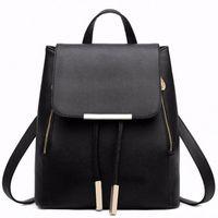 Wholesale japanese school supplies resale online - Black School Supplies Backpack Female PU Leather Backpack Japanese Street Bag Womens School Bag For Adolescent Girls Backpacks V75t
