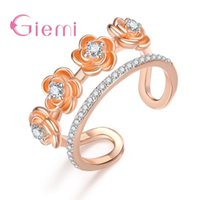 Wholesale simple gold rings for girls for sale - Group buy Hot Sale Best Quality Simple Small Four Cute Flower Rose Gold Nice Cubic Zirconia Open Ring For Women Girl Lady Jewelry