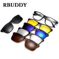 Wholesale clip night vision goggle resale online - RBUDDY Magnet Sunglasses Men Polarized clip on sunglasses Driving Square women clear glasses frame Night vision goggles glasses