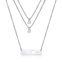 Wholesale stainless steel neck chains resale online - necklace for women heart layer stainless steel Couple necklace steel Tone fashion chain jewelry on the neck