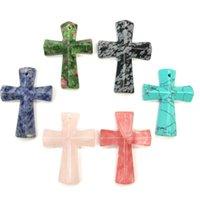 Wholesale semi precious cross resale online - Cross shaped Snowflow Stones Pendant Aura Healing Semi precious Stone Amulet DIY Jewelry Personality Gift Size x45mm