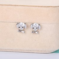 Wholesale pug gold resale online - OlZJH Fashion black eyes and earrings pug earrings gold plated inlaid artificial stars same style