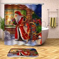 Wholesale bathroom curtains designs for sale - Group buy Christmas Shower Curtain Set Bath Mats Rugs In The Bathroom Mat Set cm X45cm New Design Christmas Bathroom