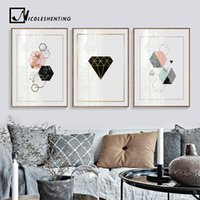 Wholesale abstract art paintings for kids for sale - Group buy Geometric Diamonds Wall Art Canvas Posters Prints Abstract Painting Decorative Picture for Kids Room Nordic Decoration