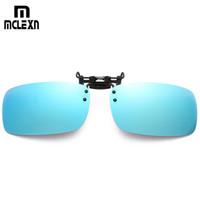 Wholesale flip glasses resale online - MCLEXN High Quality Polarized Sunglasses Clip on Dark Vision Lens Glasses Flip Night Driving Glass Black Easy Anti UVA Lens