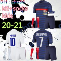 2020 2021 2 stars France soccer jersey MBAPPE GRIEZMANN KANTE POGBA Maillot de foot EURO 20 21 Kids kits + socks set football shirts Uniform