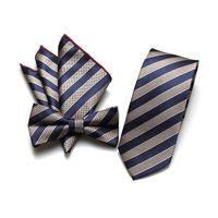 Wholesale handkerchief necktie resale online - Sitonjwly Polyester Handmade Skinny Neck Ties Bowtie Handkerchief Set for Men Necktie for Wedding Business Suits Male Neckties