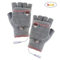 Wholesale hand gloves heat resale online - Clothes Accessories Knitting Wool Women men Hand Gloves Girsl Boys USB Heated Mitten Full Half Finger Electric heating gloves