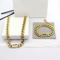 Wholesale thick chains for sale - Group buy Europe America Simple Style Jewelry Sets Women Lady Titanium steel With D Letter K Gold Thick Chain Necklaces Bracelets Sets Color