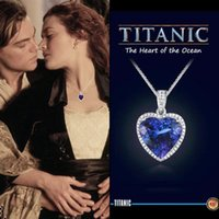 Wholesale titanic ocean heart necklace for sale - Group buy Fashion necklace film Ocean Titanic heart Sea heart with blue and red crystal chain for best women party jewelry
