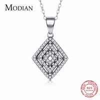 Wholesale clear spider for sale - Group buy Modian New Design Sterling Silver Rhombus Clear CZ Pendant Classic Spider Webs Necklace For Women gothic Jewelry