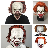 film voll groihandel-Halloween-Maske Silikon-Film Stephen Kings Joker Maske Pennywise Vollgesichtsmasken Grausigkeitschablone Clown Cosplay Partei MasksT2I51512