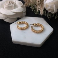 Wholesale earring golden for sale - Group buy New semicircle hollowed out Great Wall pattern golden personalized earrings