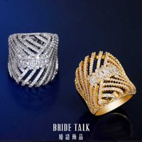 Wholesale bride ring finger resale online - Bride Talk Luxury BIg Ring Design Tones Dubai Gold Cubic Zirconia African Big Women Engagement Wedding Party Finger Rings