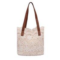 Wholesale leather messager bags resale online - Lace Handbag Fashion Laides Hollow Designer Shoulder Messager Bag Leather Handle Patchwork Big Composite Hand Bags