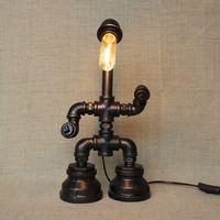 Wholesale vintage iron table lamps resale online - Vintage Water Table Lamps Water Pipe Table Lamp Edison Light Bulb Lamp Retro Iron Pipe Creative Personality Loft Bar Cafe Table Lamp