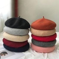 Wholesale french hats resale online - Cheap Fashion Women Winter Wool Beret French Hat Female Solid Color Bonnet Beret Hat Girls Thick Warm Walking Hat Color