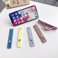 Wholesale iphone wrist strap for sale - Group buy Candy color silicone Wrist Strap Phone Stand For iphone Pro MAX XR XS X S Plus bracket holder