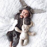 Wholesale infant halloween onesies for sale - Group buy Newborn Baby Rompers Rabbit Ears Babies Onesies Clothing Zipper Hooded Toddler Romper Infant Bodysuit Jumpsuits Sleeping Bag RRA3572
