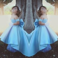 Wholesale low back girl dress for wedding resale online - Blue Ball Gown Flower Girl Dresses For Wedding Off Shoulder High Low Girls Pageant Gowns With Big Bow Back