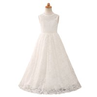 Discount winter christening gowns Cute Long Flower Girl Dress Fall Winter Wedding Formal Dresses Teenage Party Gowns for Girls 3-12 Years