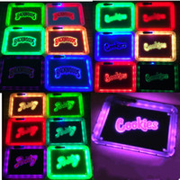 Wholesale 3 styles Glow tray for smoking accessories square LED tobacco rolling trays with handbag cm cigarette box portable gift free DHL