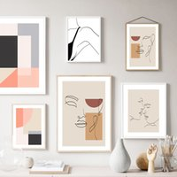 Wholesale nude body painting for sale - Group buy Abstract Color Blocks Line Face Girl Body Wall Art Canvas Painting Nordic Posters And Prints Wall Pictures For Living Room Decor