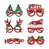 Wholesale designer eyeglasses frame resale online - Christmas Cute Cartoon Glasses Frame Glittered Eyeglasses For Kids Adults Santa Claus Snowman Antlers Xmas Party Decor gift FFA4413