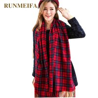 Wholesale tippet stole resale online - RUNMEIFA Women s Winter Stole Plaid Scarves Tippet Wraps Brand Ladies Scarf Women Classic Neckerchief Shawls and Scarves