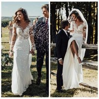 Wholesale lace slim cap sleeve wedding dress resale online - Sheer Long Sleeves Slim Mermaid Wedding Dresses Modest Lace Appliques Slim Garden Bridal Gowns Customized Formal Long Robe De Mariee