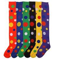 Wholesale yellow polka dot socks resale online - Clown Stockings Polka Dot Yellow Green Red Over the Knee Socks Acrylic Cotton cm Halloween Christmas Girl Stocking Gift DHC1879