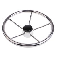 Wholesale steel steering wheel resale online - 345mm Stainless Steel Spoke Boat Steering Wheel Marine Yacht Pontoon Boat Wheel