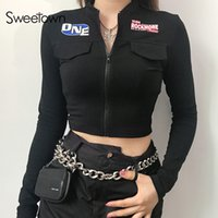 Wholesale black moto jackets for sale - Group buy Womens Jacket Black Moto Biker Cropped Jackets Coats Streetwear Zipper Stand Collar Print Long Sleeve Jacket Women Autumn Outfits