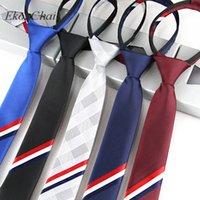 Wholesale zipper tie resale online - 5cm Narrow Neutral Fashion Zippered Necktie Stripe Twill Woven Leisure Zipper Ties Students Performance Party Stripling Gravata