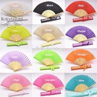 Wholesale fan laser resale online - 20PCS Colorful Silk Fan Favors with Laser Cut Gift Box Party Gifts Table Decors Beach Themed Party Supplies Anniversary Giveaway