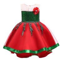 Wholesale designer kids clothes boutique resale online - dress Xmas Christmas Baby Children girls princess Flower dresses fashion Boutique Ball Gown Kids Clothing colors C5364 QSS