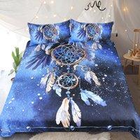 Wholesale galaxy bedding resale online - BEST WENSD High End Bed Linings Dreamcat Cher King Size Bedding Set Galaxy Feather Comforter Bedding Sets Dreamcatcher Duvet Set