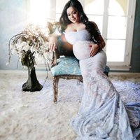 Wholesale shot wedding dresses for sale - Group buy New Women s One line Collar Mopping Long Tail Dress Photo Shooting Pregnant Women s Wedding Dress