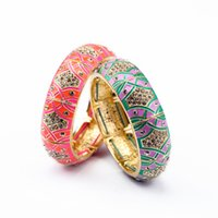 Wholesale green crystal bangles resale online - 2020 Women vintage Bracelets Bangles pink green crystal sterling elegant party accessories top quality Jewelry for ladies