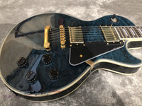 Wholesale solid maple wood electric guitar resale online - New Electric Guitar From China quilted maple wood G custom guitar Dark blue color High quality