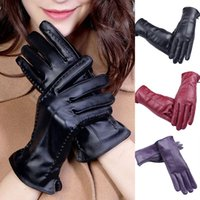 Wholesale leather working gloves resale online - Gloves Winter Work Women PU Add Wool Driving Mittens Full Fingers Plus Velvet Inside Touch Screen Windproof Waterproof