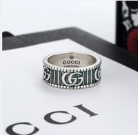 Wholesale rings resale online - 2020 New high quality Ring Width fashion brand vintage ring engraving couples ring wedding jewelry gift with box