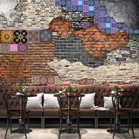 Wholesale brick paint for sale - Group buy Custom Mural Wallpaper Retro Nostalgia Art Brick Wall Painting Living Room Restaurant Backdrop Damp proof Non woven Wall Paper