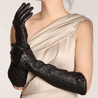 Wholesale women s leather opera gloves for sale - Group buy Women Winter Genuine Leather cm Long Thin Gloves Female Goatskin Plaid Knitted Evening Show Luva Mujer Opera Guantes