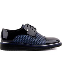 ingrosso in vernice scarpe blu-Fosco-Navy Blue Patent Leather Men 'S Casual Shoes