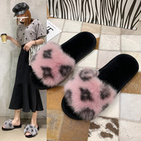 Wholesale indoor korean slippers for sale - Group buy Internet celebrities leopard print furry slippers Autumn Winter new Korean version flat anti slip indoor cotton slipper versatile plush