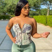 Dollar Print Corsets Women Hot Slash Neck Bandage Button Adjustable Crop Tops Fashion Party Clubwear Female Wild Outfits