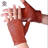 Wholesale women s fashion mittens for sale - Group buy CHING YUN Half finger gloves women New gloves fashion lady spring new mittens sheepskin leather lady Thumb design mitten